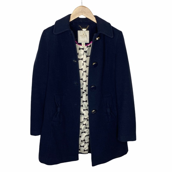 Kate Spade Navy Wool Blend Coat w/ Bow Pockets S